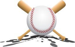 Baseball and crossed bats on splatter Royalty Free Stock Images