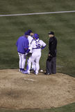 Baseball - Cubs talking strategy Stock Photos