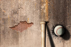 Baseball. 3d rendering of a baseball ball embedded in a stone wall Stock Photo