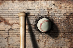 Baseball. 3d rendering of a baseball ball embedded in a stone wall Royalty Free Stock Photos