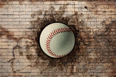 Baseball. 3d rendering of a baseball ball embedded in a stone wall Royalty Free Stock Photo