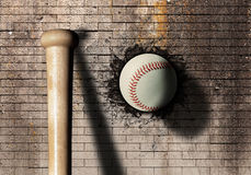 Baseball. 3d rendering of a baseball ball embedded in a stone wall Stock Photography