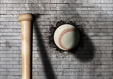 Baseball. 3d rendering of a baseball ball embedded in a stone wall Stock Image