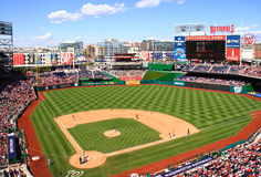 Baseball - Day Game At Washington Nationals Park. A broad view of Nationals Park, home of the Major League Baseball Washington Nationals, on a beautiful blue sky Stock Image