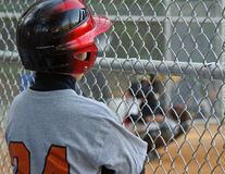 Baseball - On deck. Young baseball player watching teammate up at bat waiting his turn Stock Images