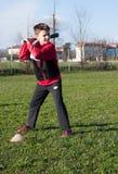 Baseball dei giochi da bambini Immagini Stock Libere da Diritti