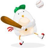 Baseball del giocatore del pollo Fotografia Stock Libera da Diritti