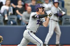 2015 baseball del NCAA - WVU-TCU Immagini Stock