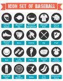 Baseball delle icone con i titoli Fotografie Stock Libere da Diritti
