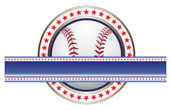 Baseball Design With Banner. Illustration of a baseball design done in red white and blue with a baseball and a large blank banner for your text Royalty Free Stock Photos