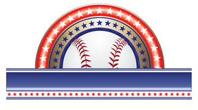 Baseball Design With Stars. Illustration of a baseball design done in red white and blue with a baseball, stars and a large blank banner for your text Royalty Free Stock Images