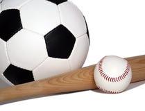 Baseball di calcio Fotografia Stock Libera da Diritti