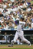 Baseball di Colorado Rockies con il pipistrello rotto da Gonazalez fotografia stock libera da diritti