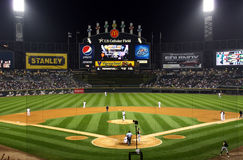 Baseball di notte Fotografia Stock