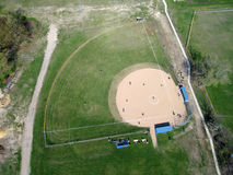 Baseball diamond - Aerial. Aerial photo of baseball diamond and baseball game underway royalty free stock photos