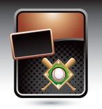 Baseball diamond and bats on bronze stylized ad Royalty Free Stock Photography