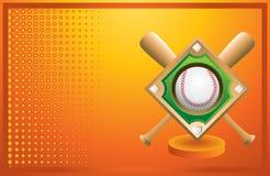 Baseball diamond and bats on orange banner Royalty Free Stock Photo