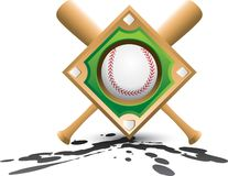 Baseball diamond and bats on splatter Royalty Free Stock Image