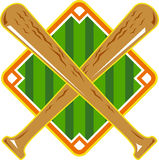 Baseball Diamond Crossed Bat Retro Royalty Free Stock Photos