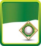 Baseball diamond on green halftone banner Royalty Free Stock Image