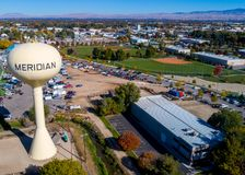Baseball diamond and Meridian water tower as seen from above Stock Photos
