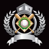 Baseball diamond silver crest Stock Image