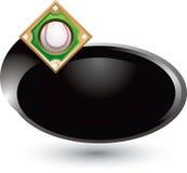 Baseball diamond on silver swoosh icon Royalty Free Stock Images