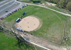 Baseball diamond2 - Aerial. Aerial photo of baseball diamond and baseball game underway royalty free stock images