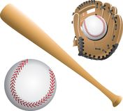 Baseball diamonds, balls, and bats Stock Photography