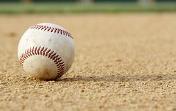 Baseball on dirt Royalty Free Stock Photo