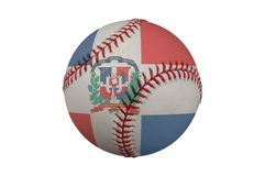 Baseball with the Dominican Republic Flag Stock Photo