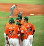 baseball dyskutuje ich gemowych graczów Obrazy Royalty Free