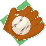 Baseball e guanto mezzo Fotografie Stock Libere da Diritti