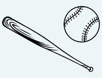 Baseball e mazza da baseball Immagini Stock Libere da Diritti