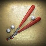 Baseball e parete dorata Immagini Stock