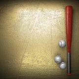 Baseball e parete dorata Immagine Stock