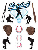 Baseball Elements. A collection of illustrated baseball elements. Batts, balls, athletes, mitts or gloves Royalty Free Stock Photos