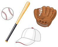 Baseball elements. A collection of baseball elements Royalty Free Stock Images