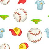 Baseball elements pattern, cartoon style. Baseball elements pattern. Cartoon illustration of baseball elements vector pattern for web Royalty Free Stock Photography