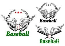 Baseball emblems with angel wings Stock Photos