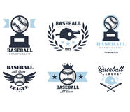 Baseball Emblems or Badges with Various Designs Stock Image