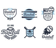 Baseball Emblems or Badges with Various Designs Royalty Free Stock Photos