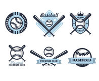 Baseball Emblems or Badges with Various Designs Royalty Free Stock Images