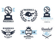 Baseball Emblems or Badges with Various Designs Stock Photography