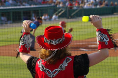 Baseball Entertainer. Women entertainer at a Texas Baseball game royalty free stock photo
