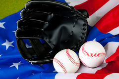 Baseball Equip on American Flag Stock Photos