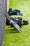 Baseball Equipment. Shot of baseball equipment at the Little League ball field royalty free stock images