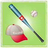 Baseball equipment. On a green background Royalty Free Stock Photography