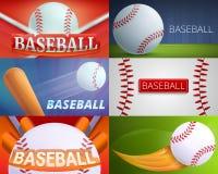Baseball equipment banner set, cartoon style vector illustration
