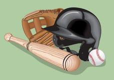 Baseball equipment: a bat,  ball and  helmet. Vector realistic illustration. Royalty Free Stock Images